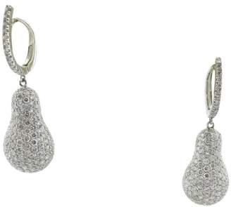 18k White Gold Raindrop Pear Shape Pave Round 3.20Ct Diamond Drop Earrings