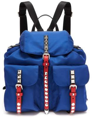 Prada New Vela Stud Embellished Backpack - Womens - Blue Multi