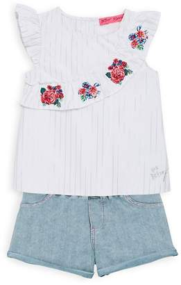 Betsey Johnson Little Girl's Ruffled Top And Shorts Set