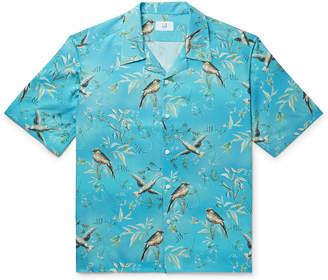 Dunhill Aquarium Camp-Collar Mulberry Silk Shirt