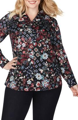 Foxcroft Lucca Floral Medallion Mix Shirt