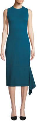 Rosetta Getty Sleeveless Body-Con Interlock Jersey Dress w/ Drape Panel