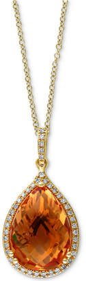 "Effy Citrine (5-3/4 ct. t.w.) & Diamond (1/8 ct. t.w.) Diamond Teardrop 18"" Pendant Necklace in 14k Gold"