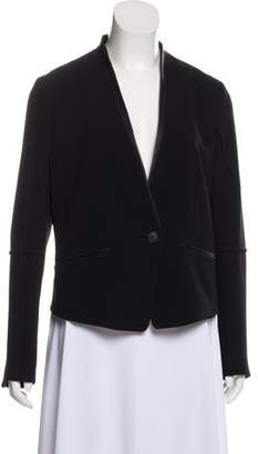 Rag & Bone Leather-Trimmed Collarless Blazer