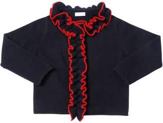 Il Gufo Ruffled Wool Knit Cardigan