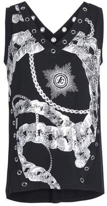 Just Cavalli Eyelet-Embellished Printed Stretch-Jersey Top