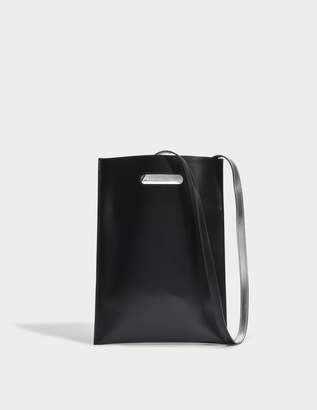 MM6 MAISON MARGIELA Hand Carry Minimal Bag in Black Calfskin