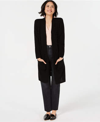 Charter Club Pure Cashmere Long Cardigan Sweater with Imitation Pearl Detail