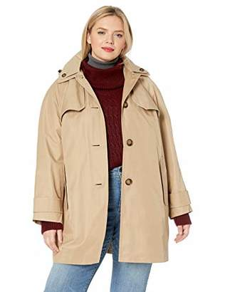 London Fog Women's Plus Size Button Front Topper