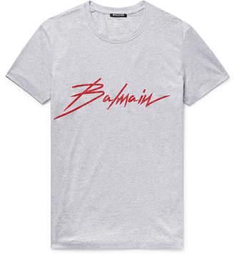 Balmain Logo-Print Cotton-Jersey T-Shirt - Men - Gray