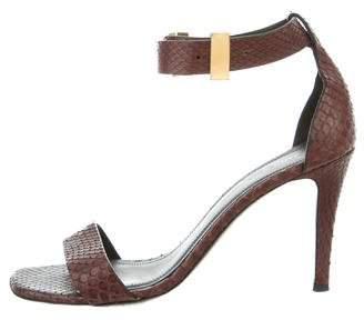 Céline Snakeskin Ankle-Strap Sandals