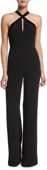 AlexisAlexis Molly Velvet-Trim Wide-Leg Jumpsuit, Black