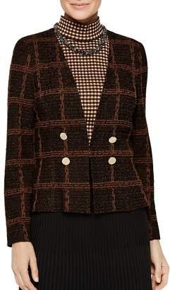 Misook Plaid Knit Cropped Jacket