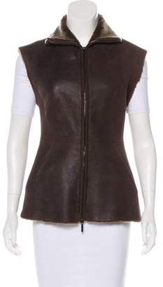 Zero Maria Cornejo Fur Lined Leather Vest