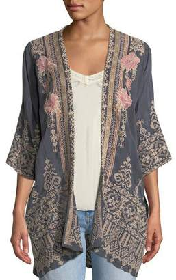 Johnny Was Helena Open-Front 3/4-Sleeve Embroidered Georgette Kimono, Plus Size