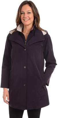 Fleet Street Petite Hooded Faux-Silk Stadium Jacket