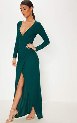 e62f39de0b9d5 PrettyLittleThing Emerald Green Plunge Ruched Split Leg Maxi Dress