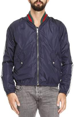 Gucci Jacket Nylon Bomber Jacket With Knitted Neck And Web Lines With Side Contrasting Bands