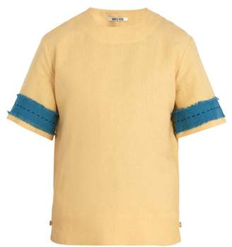 Hecho - Frayed Panel Linen Tunic Top - Mens - Yellow