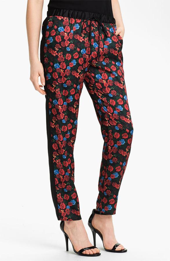 Vince Camuto Print Drawstring Waist Pants Womens Rich Black Size Small Regular Small Regular