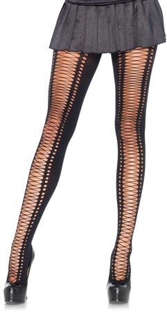 Women's Faux Lace Up Tights, Black, One Size