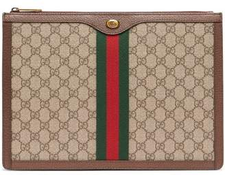 Gucci Gg Supreme Canvas And Leather Portfolio - Mens - Beige