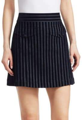 Derek Lam 10 Crosby Velvet Stripe Mini Skirt