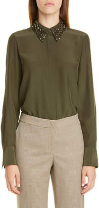 Lafayette 148 New York Julianne Silk Blouse with Detachable Collar