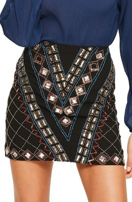 Women's Missguided Embellished Miniskirt $113 thestylecure.com