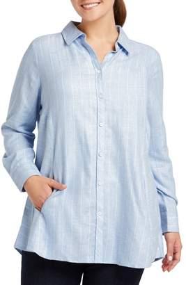 Foxcroft Cici Herringbone Stripe Tunic Shirt