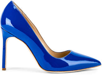 Manolo Blahnik BB Pump in Electric Blue Patent | FWRD