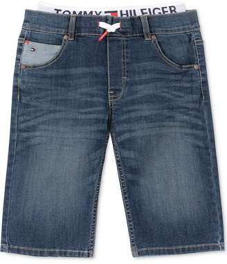 Tommy Hilfiger Little Boys Retro Revolution-Fit Stretch Textured Layered-Look Denim Shorts