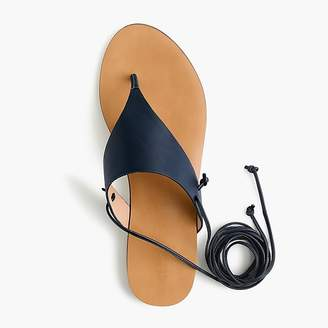 J.Crew Ankle-tie thong sandals in leather