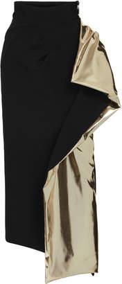 Maticevski Alkali Ruffled Metallic-Accented Satin Pencil Skirt Size: 6