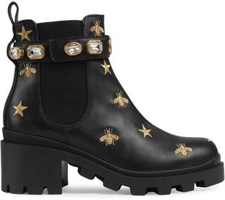 Gucci Embroidered leather ankle boot with belt