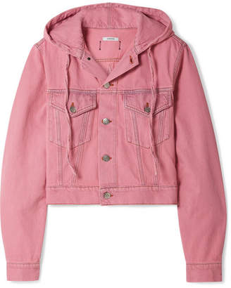 Ganni Hooded Cropped Denim Jacket - Pink