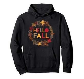 Hello Fall Foliage Leaves Wreath Autumn Hoodie