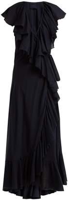 LOUP CHARMANT Callela ruffled cotton wrap dress