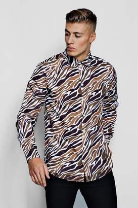 boohoo Zebra Print Long Sleeve Shirt
