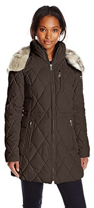 Nautica Women's Diamond Quilted Puffer Coat with Hood $228 thestylecure.com