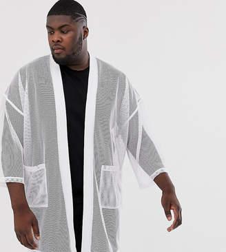 Design DESIGN Plus mesh kimono cardigan in white