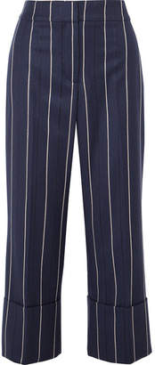 Oscar de la Renta Cropped Striped Wool-blend Wide-leg Pants - Navy