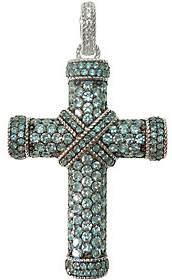 Judith Ripka Sterling Pave Blue Topaz Cross Enhancer