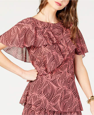 Michael Kors Printed Tiered Flounce Top, Created for Macy's, in Regular and Petite Sizes