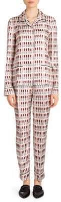 Prada Silk Lipstick-Print Two-Piece Pajama Set
