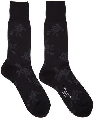 Comme des Garçons Homme Plus Black & Grey Floral Socks $35 thestylecure.com