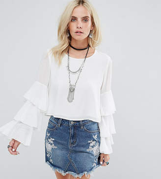 Glamorous Petite Top With Ruffle Layer Sleeves
