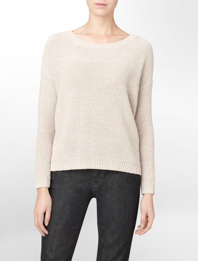 Calvin Klein Lurex Stitch Pullover Sweater