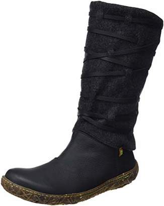 El Naturalista Women''s N5441 Soft Grain-Premium Wool Black/Nido High Boots