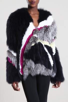 Cushnie Multi Color Lennon Knitted Fur Coat